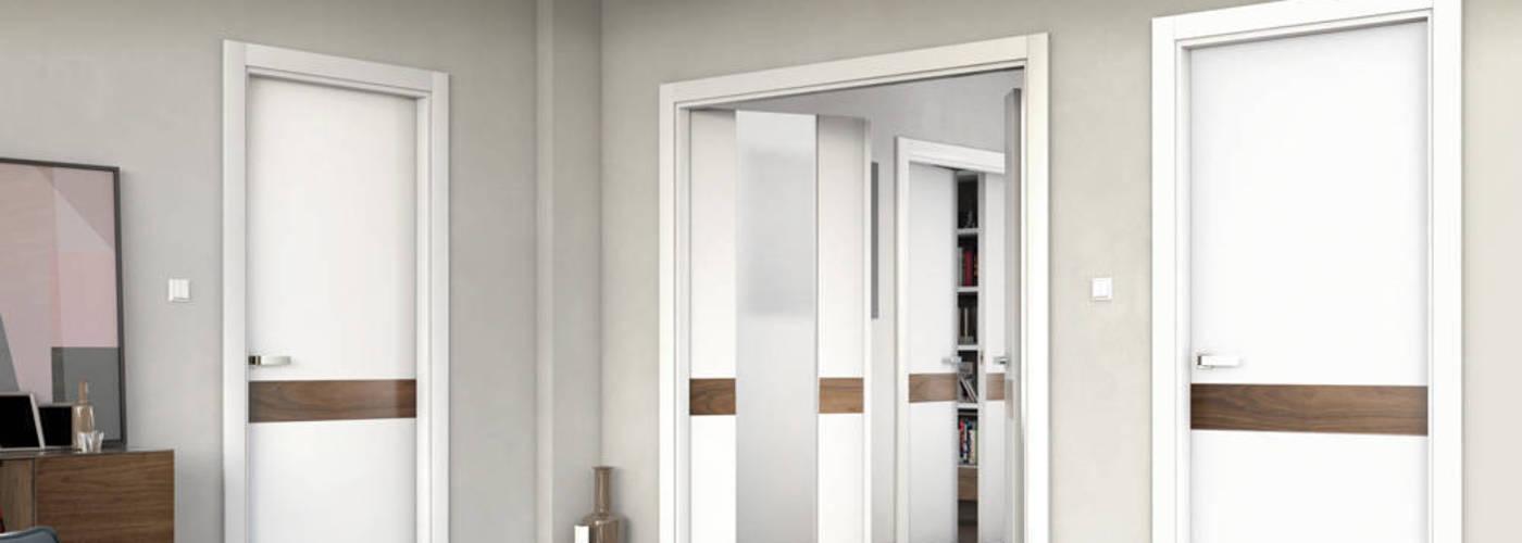 Puerta moderna lacada en blanco y madera de nogal